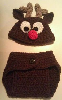 ae6777df1c29e Items similar to Newborn Reindeer Hat and Diaper Cover Set Reserved for  Kayla on Etsy