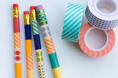 Back to School : Games DECORATIVE PENCILS  Let the kids decorate some pencils for their school supplies.  Its a very simple activity - which makes it great for kids. Just let the kids cut off stripes to wrap around their pencils for a fun and unique pencils!