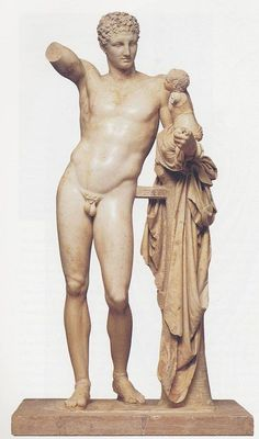 Praxiteles, Hermes & the young Dionysus, 340 BC, marble, h. 213cm, Olympus, Archeological museum.