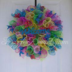 Multi Colored Deco Mesh Wreath For All Season. Multi-Colored Party Wreath. by DazzleaDoor on Etsy