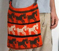 Stunning Orange Hand-Knitted Satchel  Guatemala by TheMayaMarket