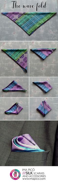 How to fold a pocket square - The wave fold - silk handkerchiefs