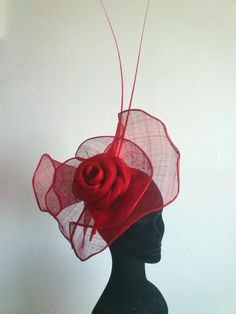 Previous pinner: very pretty red petaled rose in sinamay #millinery #judithm #hats