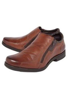 Sapato Social Couro Ferracini Zíper Caramelo