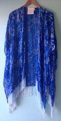 Fringed silk and velvet shawl in sapphire