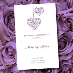 "Printable Wedding Program Template ""Hearts""  Purple | 8.5 x 11 Foldover Editable Word | Instant Download | ALL COLORS | DIY | U Print on Etsy, $10.00"