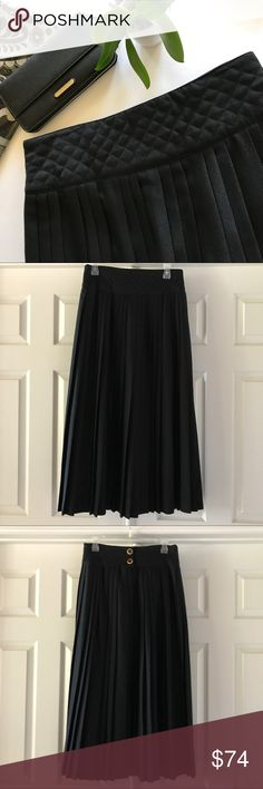 "🆕LISTING: Black 💯Wool Knifepleat Skirt EUC Gorgeous skirt! All wool, made in Canada! So distinctive! Variation pattern of knifepleats all round. Quilted waistband, approx 4"" wide. Double buttons at back with zip cleverly hidden in pleat. Hangs so beautifully! So classy! Gently pre-loved – EUC.  Measures approx 28"" waist, 36.5"" long - euro size 42 equivalent US size 12.   This listing for skirt only – see my closet for other listings in bundle to save! Femme de Carriere Skirts"