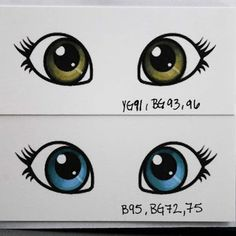 Hazel and blue eye color tutorial using Copic Markers Doll Eyes, Doll Face, Blue Eye Color, Eye Colors, Copic Markers Tutorial, Coloring Tutorial, Alcohol Markers, Colouring Techniques, Tole Painting