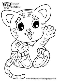 Learning Friends Tiger baby animal coloring printable from