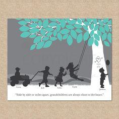 Perfect Xmas present for my mother!!!!!!  Christmas Gift for Grandparent / Grandchildren Art Print- Personalized Silhouette Print featuring Nana  Grandpa's grandchildren, 11x14. $39.00, via Etsy.