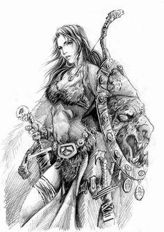 Terras Barbaras III by ricardoafranco on DeviantArt Viking Art, Viking Warrior, Viking Woman, Warrior Girl, Fantasy Warrior, Fantasy Girl, Female Character Concept, Character Art, Guerrero Tattoo