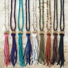 Long natural stone beaded Leather Tassel necklace