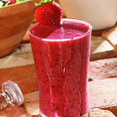 Berry Good for You Smoothie~ great way to get a dose of fruit, fiber and good fats. This is loaded with antioxidants and full of flavor. Adding a little canola oil gives it omega-3 fats and vitamin E as well as a smoother taste.