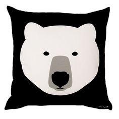 White Bear Black Bear Cushion - Front