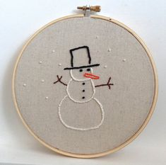 Snowman Embroidered Hoop, Holiday Embroidery Decor, Christmas Embroidery Hoop on Etsy, $21.45 CAD