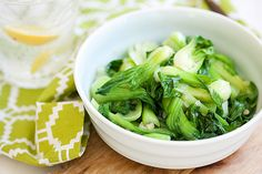 Garlic Bok Choy 1 tablespoon oil 3 cloves garlic, minced 8 oz baby bok choy, rinsed and drained Heaping teaspoon salt or to taste Healthy Vegetable Recipes, Quick Healthy Meals, Vegetable Side Dishes, Vegetarian Recipes, Healthy Eating, Cooking Recipes, Veggie Side, Healthy Lunches, Healthy Food
