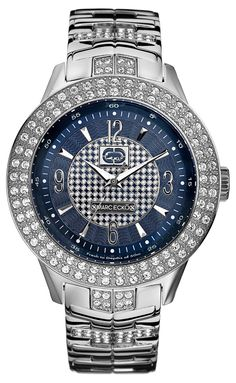 Marc Ecko Men's E16533G2 The King Silver Stainless Steel Watch - Bold style makes all the difference. This Marc Ecko watch features a stainless steel bracelet and case. Crystal-accented bezel. Patterned blue dial with logo and silvertone Roman numerals at 12, 3, 6 and 9 o'clock paired with stick indexes. Three hands. Quartz movement. Water resistant to 30 meters.