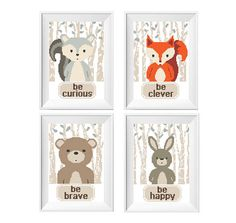 Baby woodland animals Cross Stitch Pattern 4 in 1 set. Bear, Fox, Bunny Badger. Be curious ..Be clever.. Be brave.. Be kind ..No205 Very kind baby animals. This is a perfect DIY gift to a newborn.