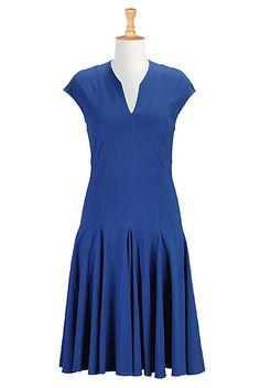 I <3 this Seamed cotton knit skater dress from eShakti