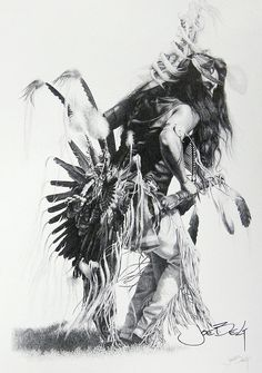 Bullet, a traditional dancer  This is a print from an original pencil drawing of not just a traditional dancer, but the finest traditional Indian dancer Iver ever seen. He has been the subject of many of my drawings/paintings, and in the years Ive drawn him, has become a close friend. Bullet Standingdeer, eastern-band Cherokee.