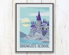 Welcome to Hogwarts School Cross Stitch Pattern, Hogwarts School Pattern, Harry Potter Pattern, Modern Cross Stitch, Download PDF #hp017