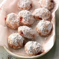 Four ingredients are all you'll need for this sure-bet breakfast treat. Friends and family will never guess that refrigerated buttermilk biscuits are the base for these golden, jelly-filled doughnuts. —Ginny Watson, Broken Arrow, Oklahoma Easy Pastry Recipes, Donut Recipes, Cajun Recipes, Easy Recipes, Canned Biscuits, Buttermilk Biscuits, Deep Fryer Recipes, Biscuit Recipe, Doughnuts