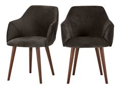 2 x Lule High Back Carver Chairs, Otter Grey Velvet