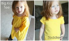 Turn a big kid t-shirt into a toddler t-shirt.  Perfect for when you need a solid toddler shirt for crafting.