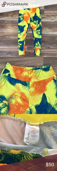 LuLaRoe Cat Leggings LuLaRoe Cat Leggings, Yellow, Orange and Blue, Hard to Find, Rare, One Size, Kitty, Kitten LuLaRoe Pants Leggings
