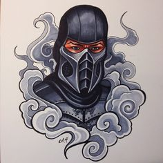 Smoke. Marker on cold press watercolor paper. These originals are all for sale, message me for details if interested. #smoke #mortalkombat #mk #art #drawing #marker #gamer #netherrealm