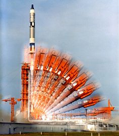 This multiple-exposure image depicts the lowering of the gantry at Cape Kennedy's Launch Complex 19 and liftoff of the Gemini Titan X vehicle. Taking place at 5:20 p.m. EST on July 18, 1966, John Young, command pilot, and Mike Collins were launched on a three-day mission to rendezvous and dock with an Agena spacecraft lifting off 101 minutes earlier. Credits: NASA
