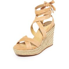 Splendid Janice Wedges (1,085 HKD) ❤ liked on Polyvore featuring shoes, sandals, nude, nude wedge sandal, platform shoes, leather sandals, braided leather sandals and leather shoes