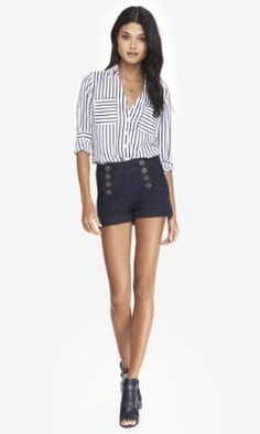 Love these for summertime! HIGH WAISTED DENIM SAILOR SHORTS from EXPRESS