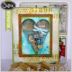 Sizzix Die Cutting Inspiration | Mixed Media Heart Decor by Aida Haron