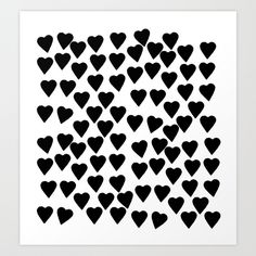 Hearts Black and White Art Print by Project M | Society6