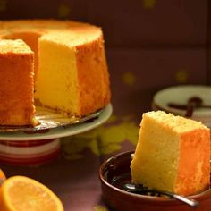 It's chiffon cake Tuesday! This time I'm sharing my orange chiffon cake recipe. I have to say it's slowly becoming my favourite chiffon cake flavour though it is extremely difficu… Lemon Chiffon Cake, Orange Chiffon Cake, Chiffon Recipe, Baking Recipes, Cookie Recipes, Dessert Recipes, Orange Sponge Cake, Lemon Olive Oil Cake, Sponge Cake Recipes