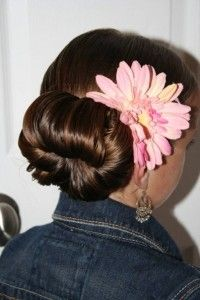 Tween Flower Bun Updo from Cute Girls Hairstyles.  This requires medium level skill (which is one step higher than I can usually attempt) but the video makes it seem doable.