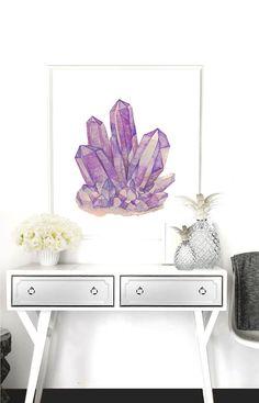 Amethyst Crystal Poster PRINTABLE FILE - 6 sizes/ same price, Ametrine, Quartz Crystal art, Gift for her, Rocks Gems art poster, Rock art