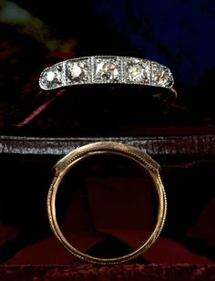 1890s Victorian Five Diamond Ring, 14K and Sterling Silver (sold)0.60ctw European Cut Diamonds