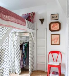 A bunk bed isn't just for two people; raise one bed and the bottom is available for a closet. Wonderful use of  space for small roomed condos, dorms, or big families.