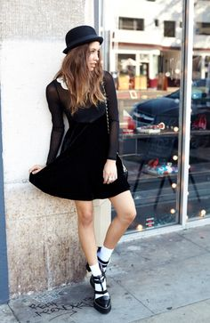 Wednesday Dress, Wool Bowler Hat, and Freca Platforms by #JeffreyCampbell.
