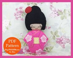 A personal favorite from my Etsy shop https://www.etsy.com/listing/528122193/japanese-kokeshi-doll-pink-felt-doll-pdf