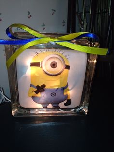 Minion lighted glass block.  One of my lighted glass blocks! Check out my store on Etsy called IrwinRags!