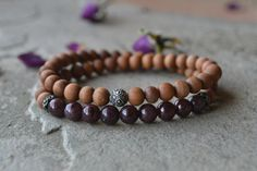 Check out this item in my Etsy shop https://www.etsy.com/listing/461598558/sandalwood-and-garnet-wrap-bracelet-with