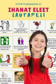Ihanat eleet -lautapeli - Kindergarten Crafts, Social Skills, Pre School, Speech Therapy, Mindfulness, Crafts For Kids, Projects To Try, Classroom, Teaching