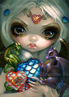 Dragon Hearts Jasmine Becket-Griffith ORIGINAL PAINTING Valentine fairy art NEW