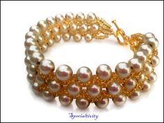 Handmade Almond Glass Pearl Gold Seed Bead Woven Bracelet | specialtivity - Jewelry on ArtFire