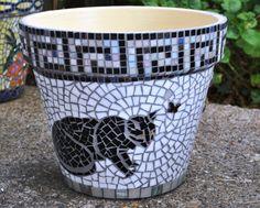 Mosaic Flower Pot with Greek Key and Black by midcenturymosaics