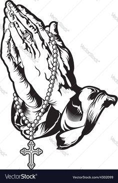 Praying hands with rosary tattoo vector image on VectorStock Praying Hands Drawing, Praying Hands With Rosary, Praying Hands Tattoo Design, Jesus Tattoo Design, Tattoo Design Drawings, Osiris Tattoo, Herren Hand Tattoos, Jesus Drawings, Hand Tattoos For Guys