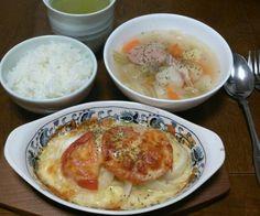 My Birthday Dinnerです♪って、言っても旦那さん残業、長男居残りなので次男と2人だけ(>ω<、) - 79件のもぐもぐ - カラスガレイのチーズ焼き&ポトフ by sakachinmama